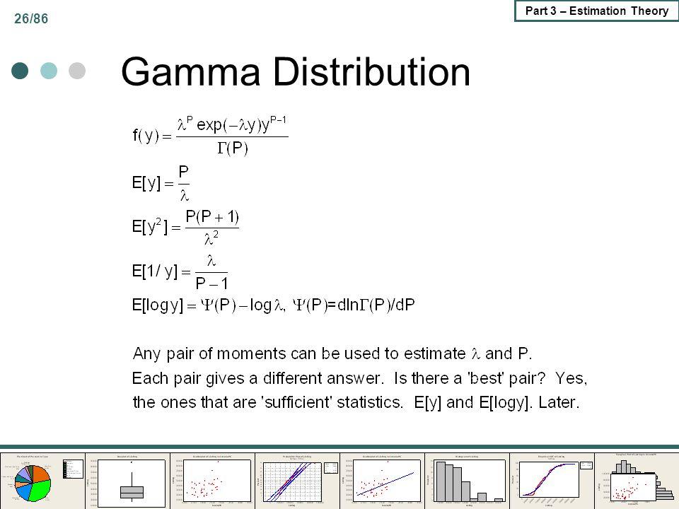 26/86 Part 3 – Estimation Theory Gamma Distribution