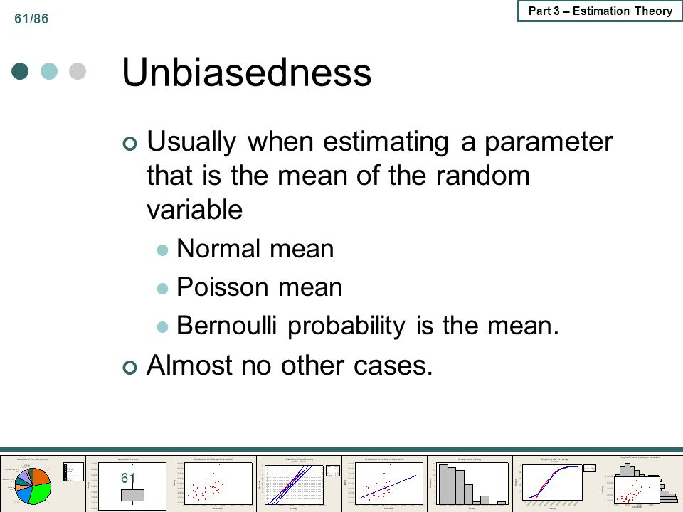 61/86 Part 3 – Estimation Theory Unbiasedness Usually when estimating a parameter that is the mean of the random variable Normal mean Poisson mean Ber