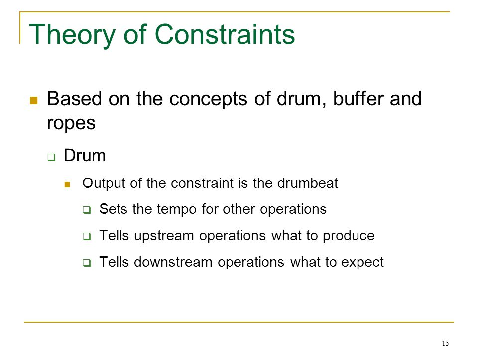 15 Theory of Constraints Based on the concepts of drum, buffer and ropes  Drum Output of the constraint is the drumbeat  Sets the tempo for other op