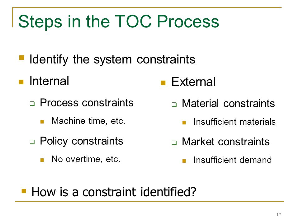 17 Steps in the TOC Process Internal  Process constraints Machine time, etc.  Policy constraints No overtime, etc. External  Material constraints I