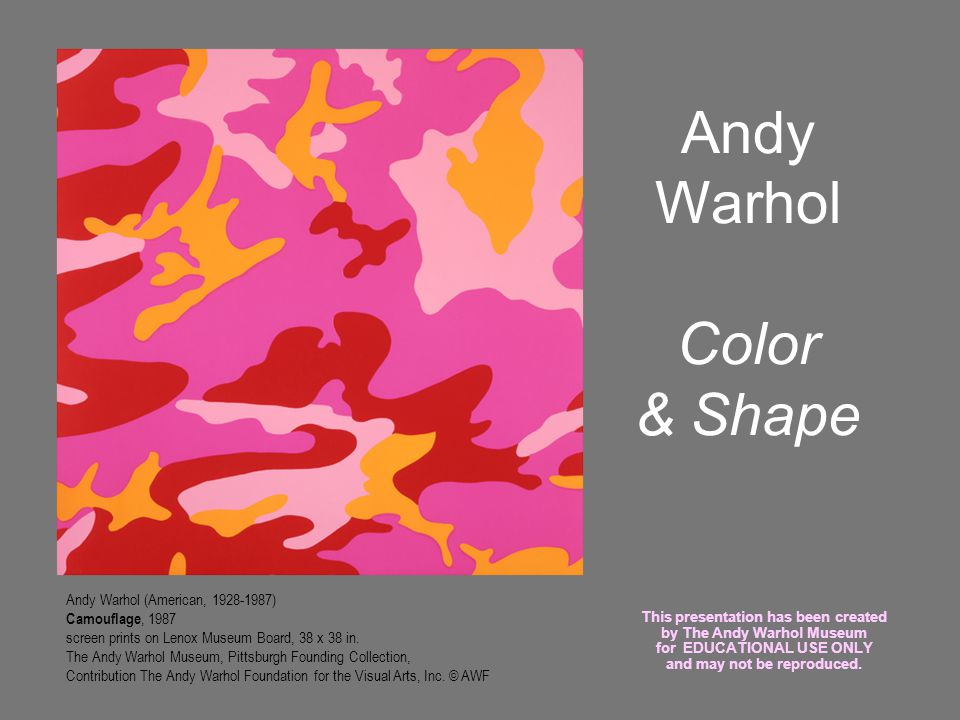 Andy Warhol Color & Shape Andy Warhol (American, 1928-1987) Camouflage, 1987 screen prints on Lenox Museum Board, 38 x 38 in. The Andy Warhol Museum,