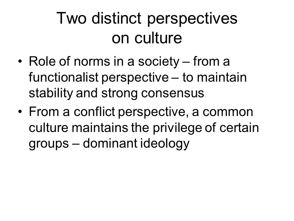 Two distinct perspectives on culture Role of norms in a society – from a functionalist perspective – to maintain stability and strong consensus From a conflict perspective, a common culture maintains the privilege of certain groups – dominant ideology