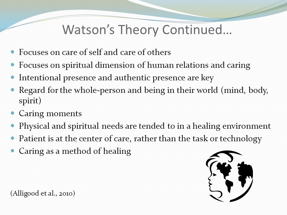 Watson's Theory Continued… Focuses on care of self and care of others Focuses on spiritual dimension of human relations and caring Intentional presenc