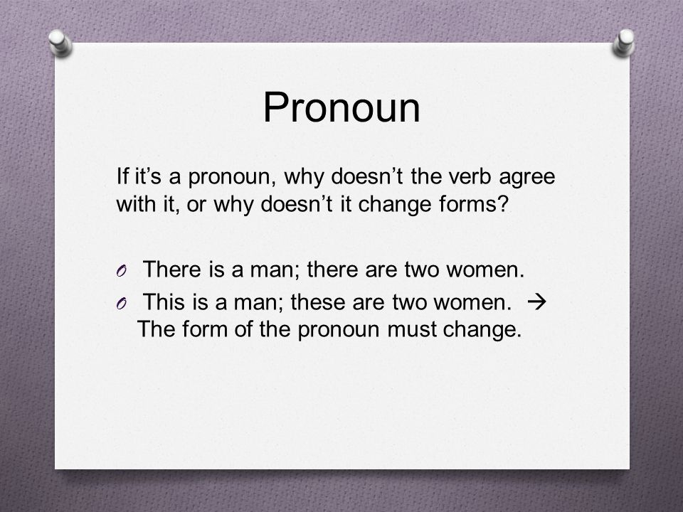 Pronoun If it's a pronoun, why doesn't the verb agree with it, or why doesn't it change forms.