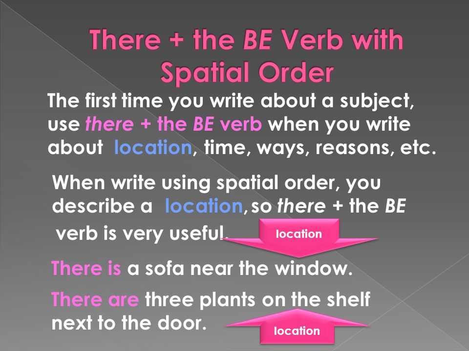 The first time you write about a subject, use there + the BE verb when you write about There is a sofa near the window.