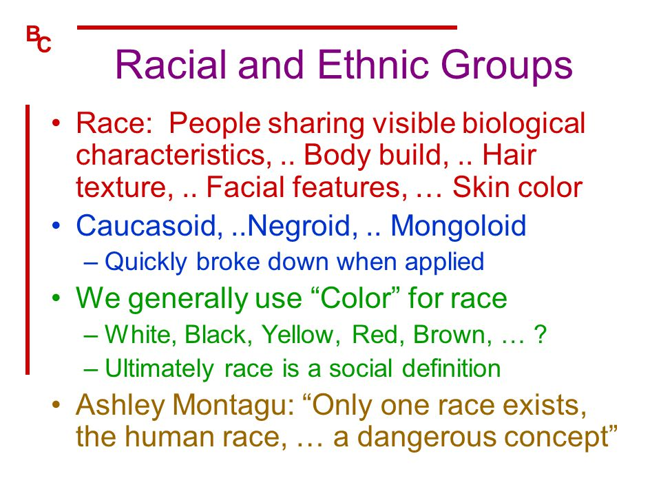 B C Racial and Ethnic Groups Race: People sharing visible biological characteristics,.. Body build,.. Hair texture,.. Facial features, … Skin color Ca