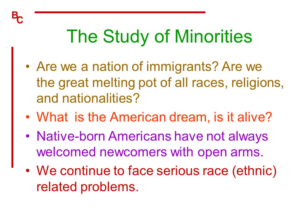 B C The Study of Minorities Are we a nation of immigrants? Are we the great melting pot of all races, religions, and nationalities? What is the Americ