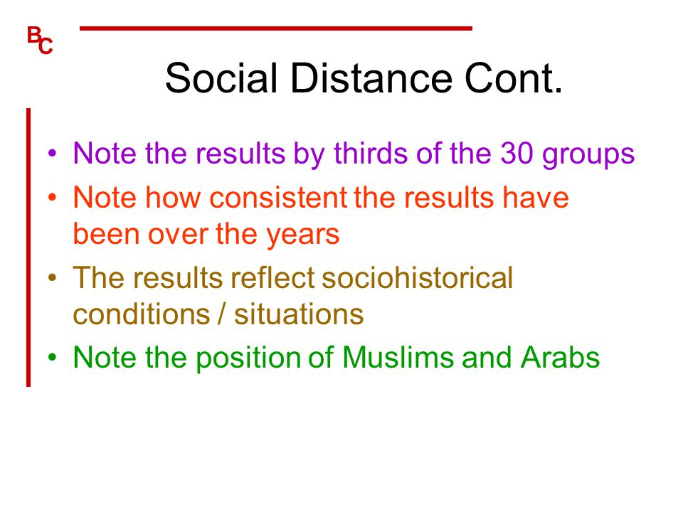 B C Social Distance Cont. Note the results by thirds of the 30 groups Note how consistent the results have been over the years The results reflect soc