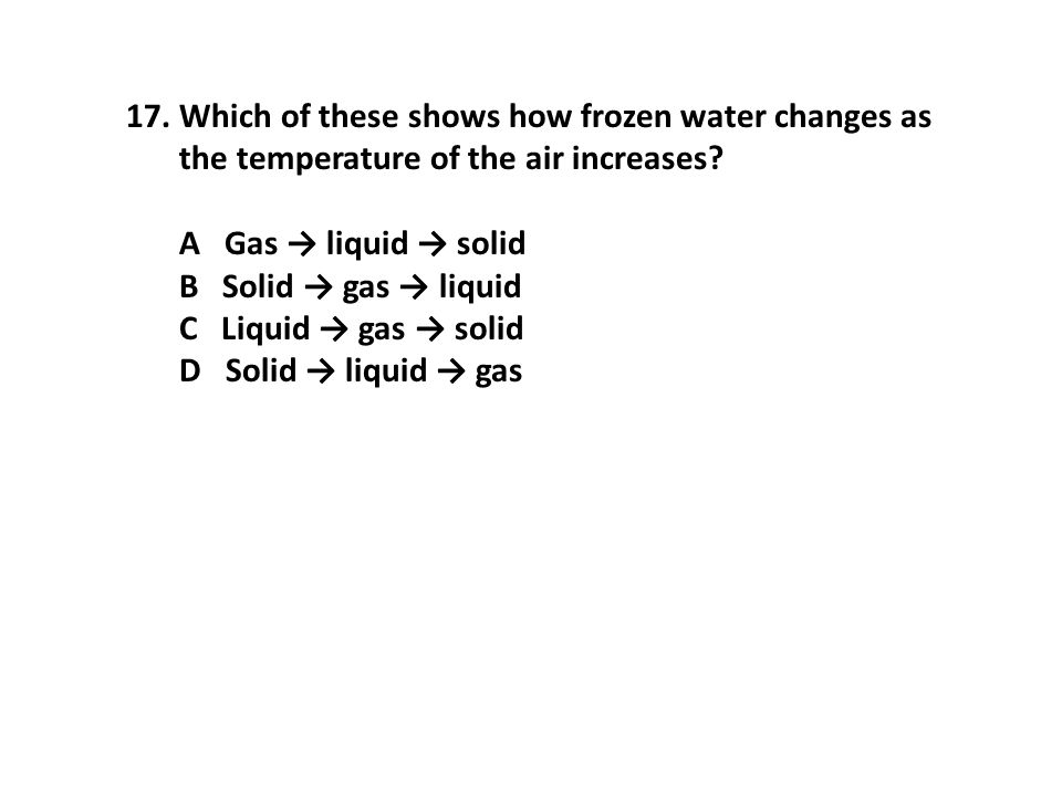 17.Which of these shows how frozen water changes as the temperature of the air increases.