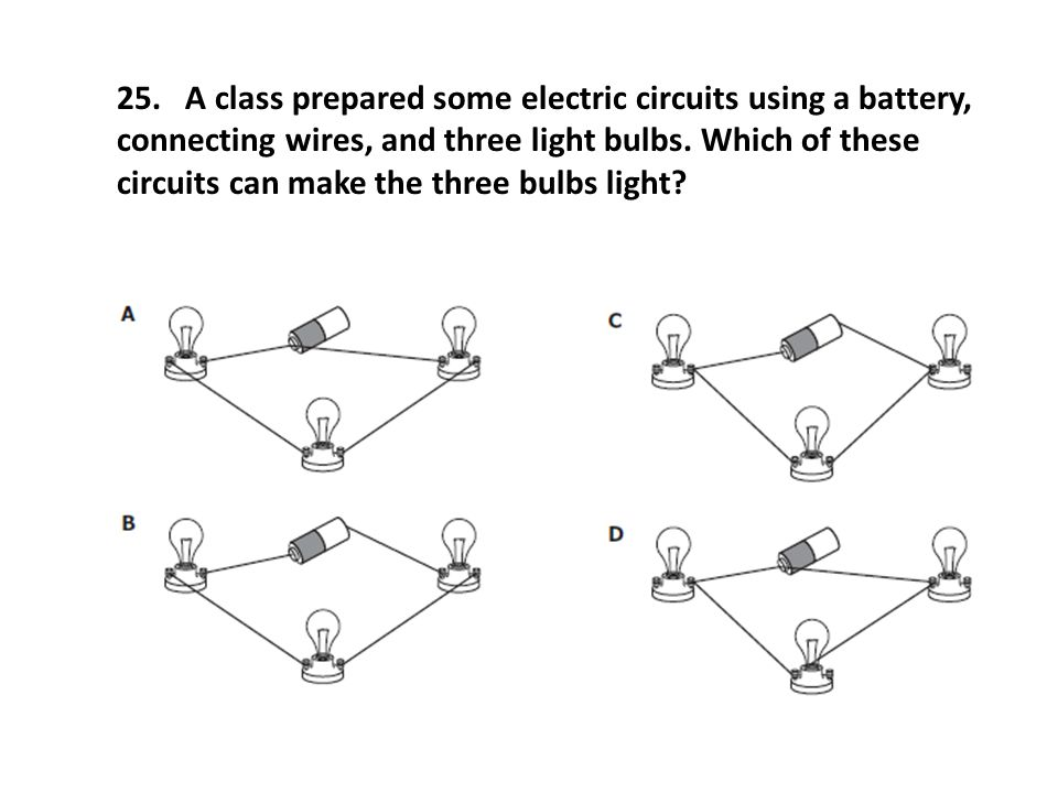 25. A class prepared some electric circuits using a battery, connecting wires, and three light bulbs. Which of these circuits can make the three bulbs