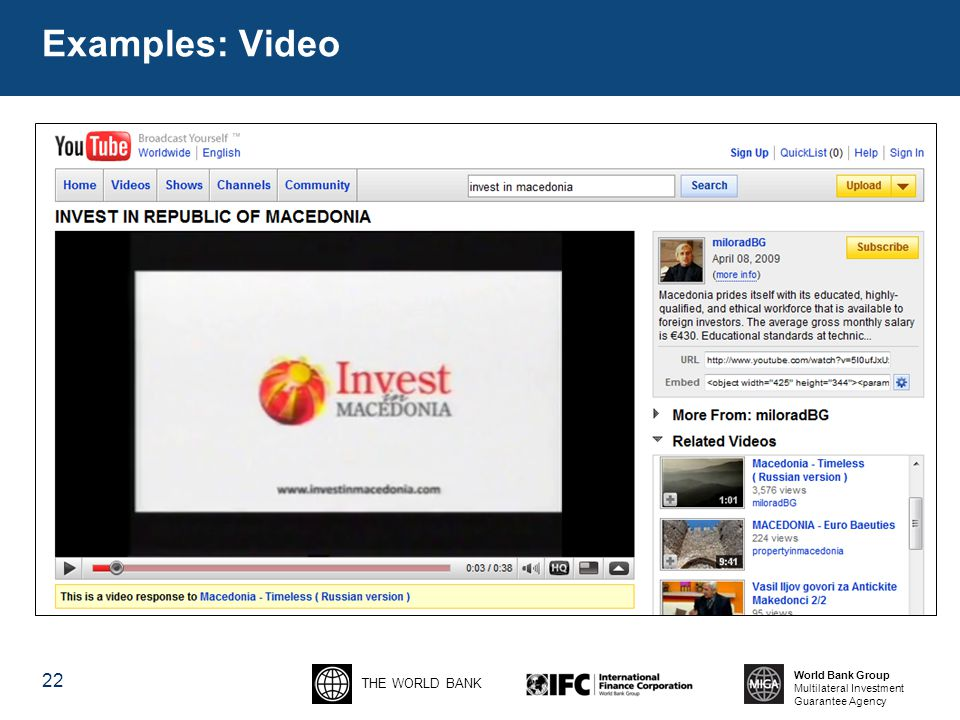 THE WORLD BANK World Bank Group Multilateral Investment Guarantee Agency 22 Examples: Video