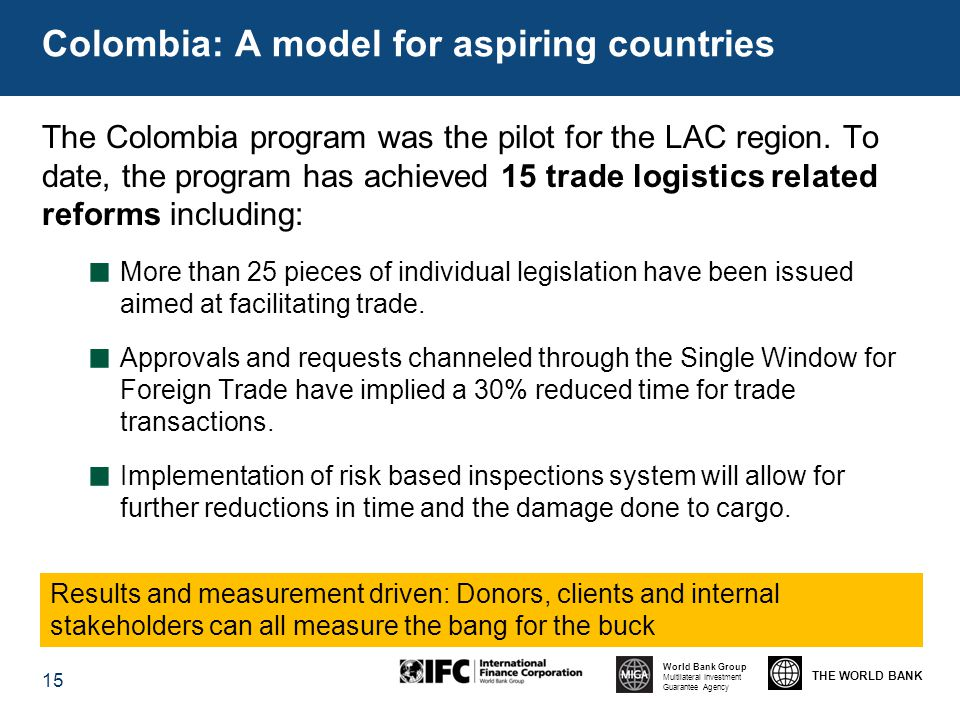 THE WORLD BANK World Bank Group Multilateral Investment Guarantee Agency The Colombia program was the pilot for the LAC region.
