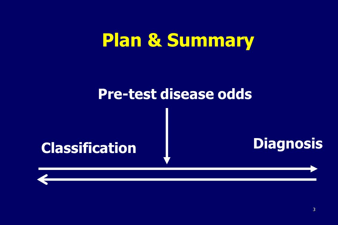 3 Plan & Summary Pre-test disease odds Classification Diagnosis