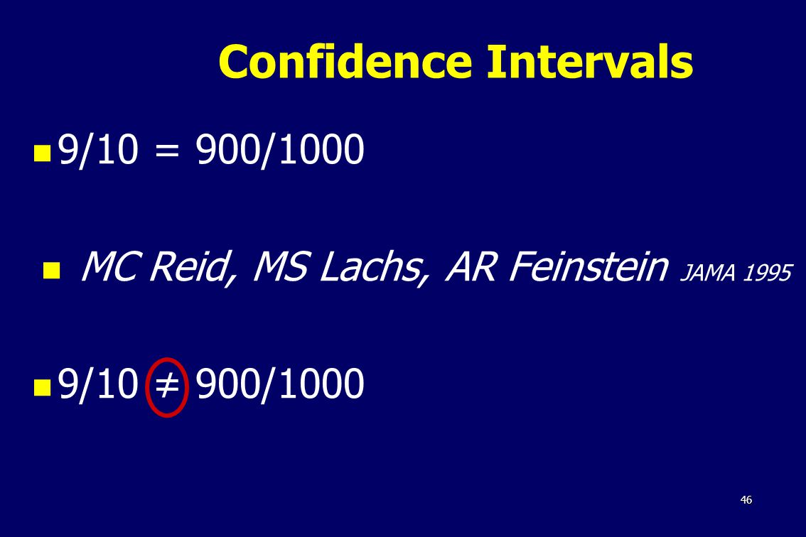 46 9/10 = 900/1000 MC Reid, MS Lachs, AR Feinstein JAMA /10 ≠ 900/1000 Confidence Intervals