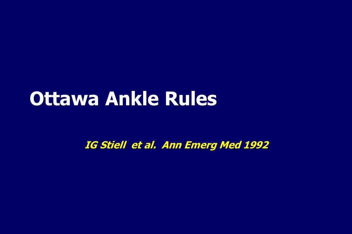 Ottawa Ankle Rules IG Stiell et al. Ann Emerg Med 1992