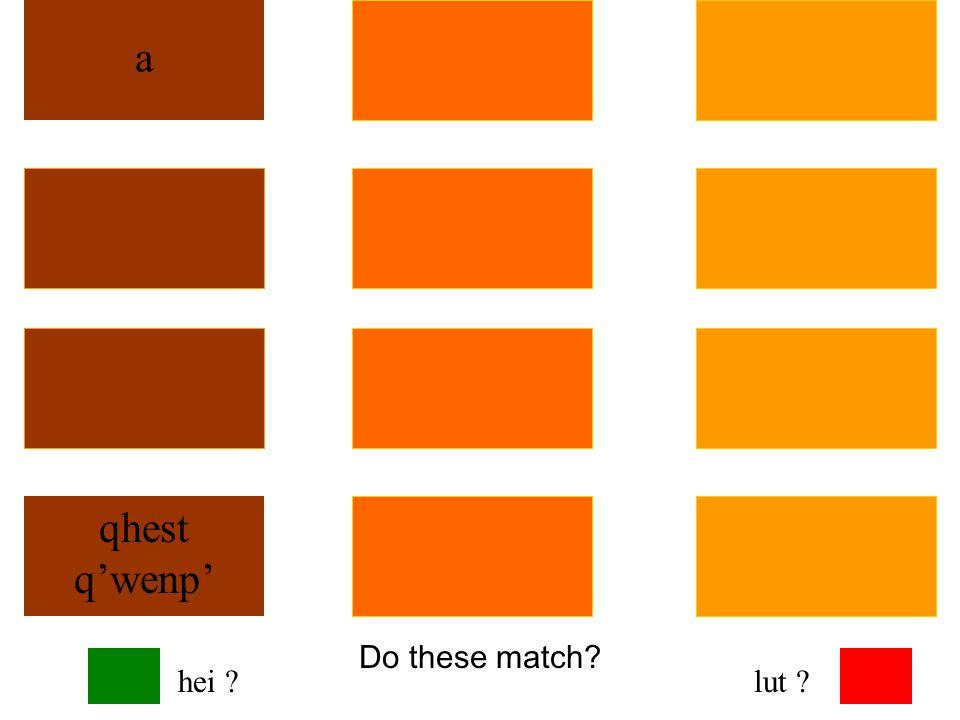 Do these match? a qhest q'wenp' hei ?lut ?