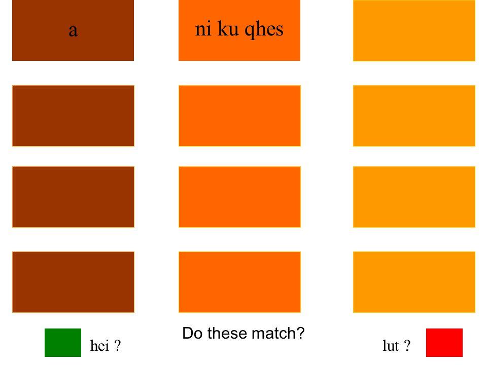 Do these match? a ni ku qhes hei ?lut ?