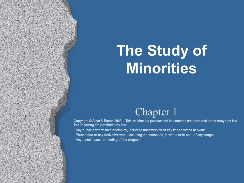 The Study of Minorities Chapter 1 Copyright © Allyn & Bacon 2003.