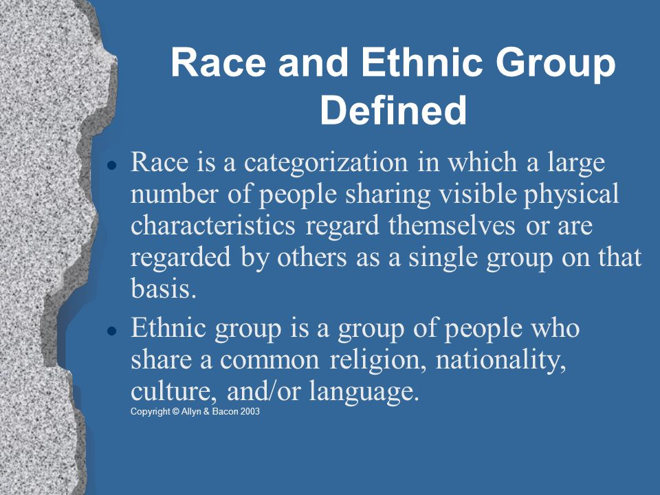 Race and Ethnic Group Defined Race is a categorization in which a large number of people sharing visible physical characteristics regard themselves or are regarded by others as a single group on that basis.