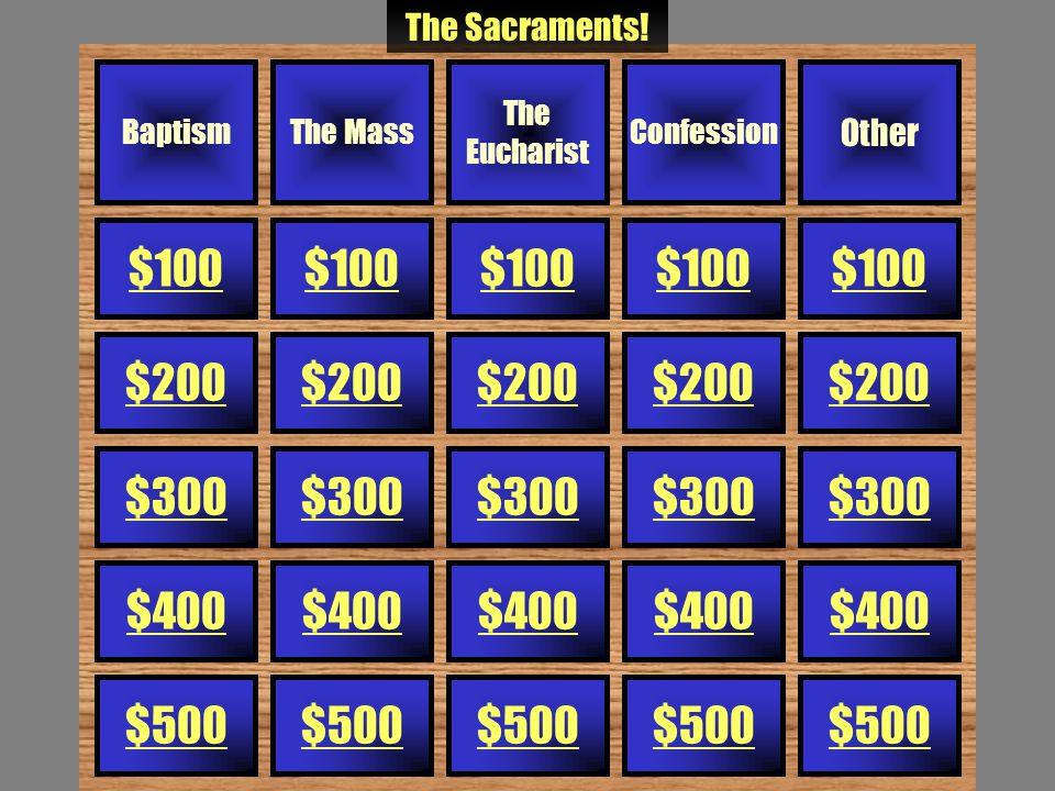 The Mass - $500 These are the two parts of Mass.