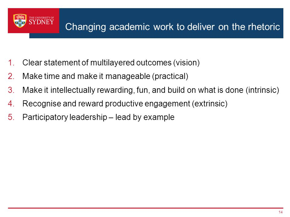 Changing academic work to deliver on the rhetoric 1.Clear statement of multilayered outcomes (vision) 2.Make time and make it manageable (practical) 3