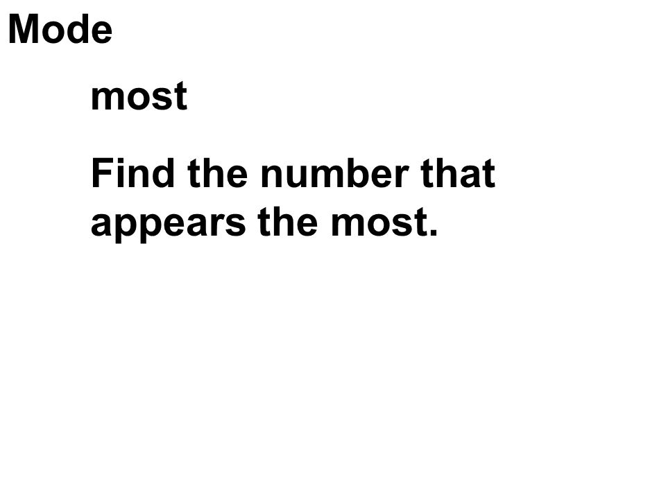 Mode most Find the number that appears the most.