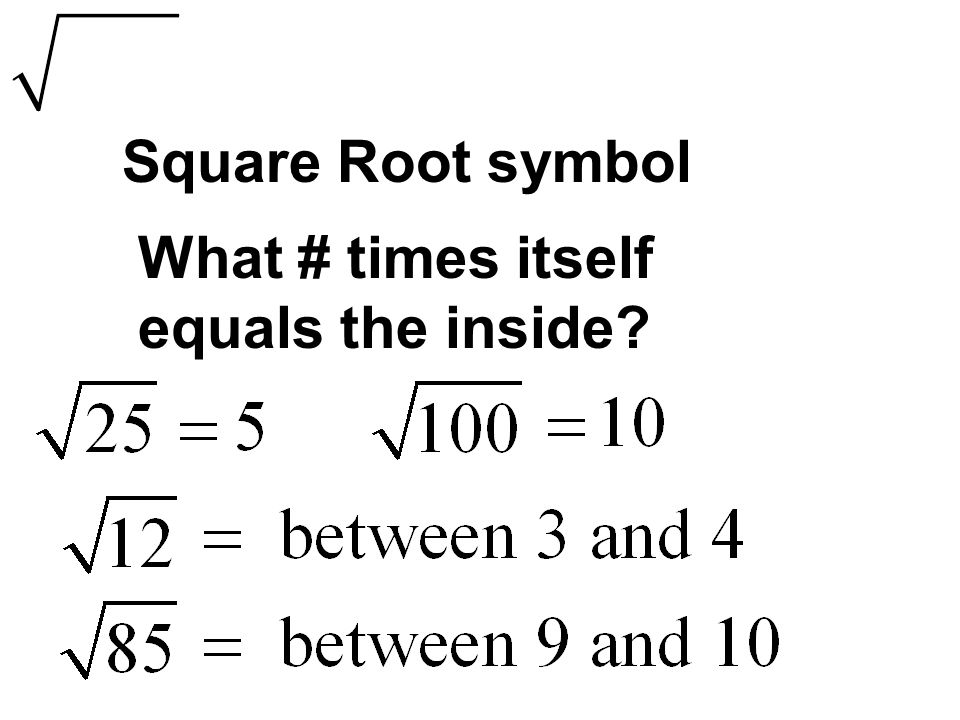 Square Root symbol What # times itself equals the inside