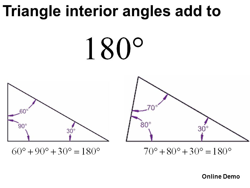 Triangle interior angles add to Online Demo