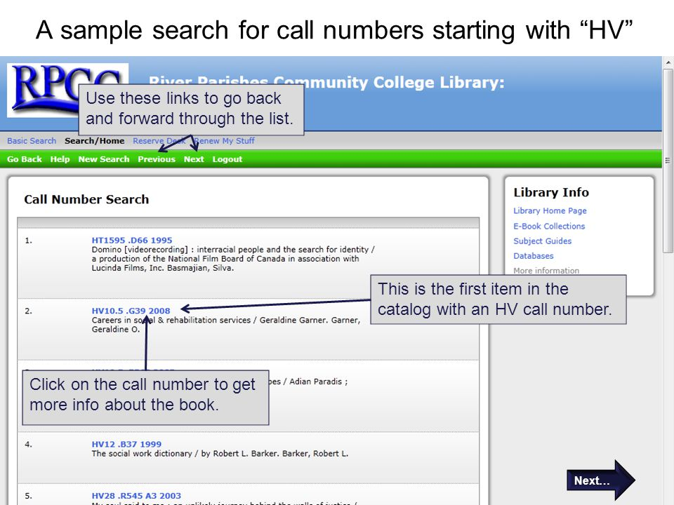 """A sample search for call numbers starting with """"HV"""" This is the first item in the catalog with an HV call number. Use these links to go back and forwa"""