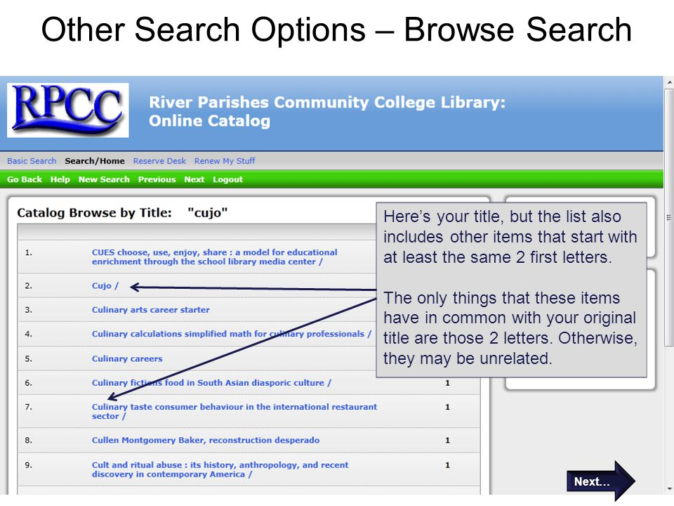 Other Search Options – Browse Search Here's your title, but the list also includes other items that start with at least the same 2 first letters.