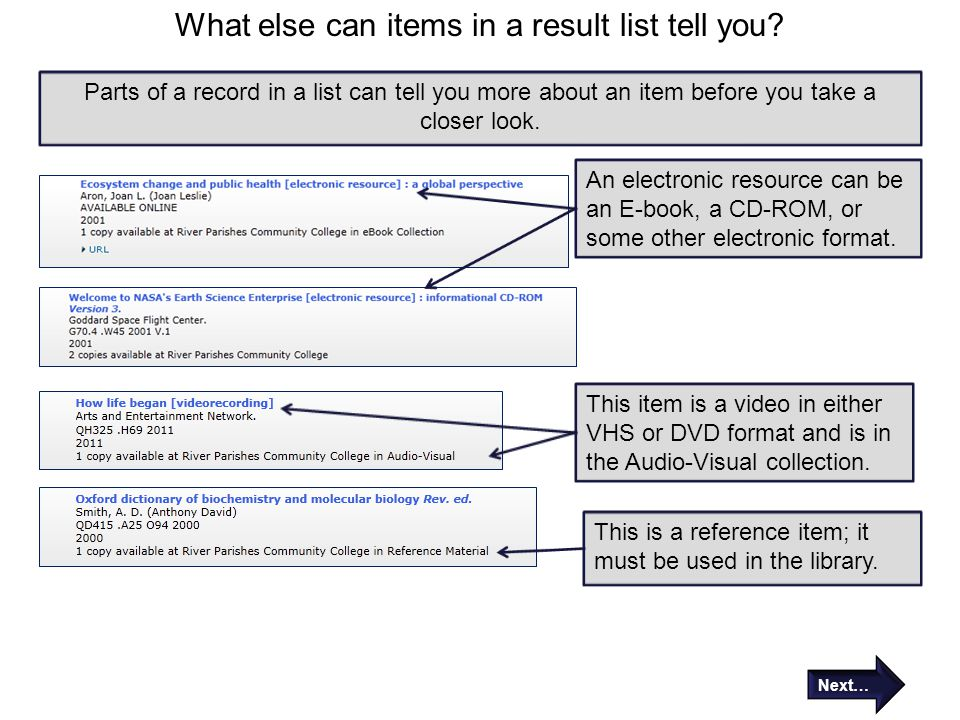 What else can items in a result list tell you? Parts of a record in a list can tell you more about an item before you take a closer look. An electroni