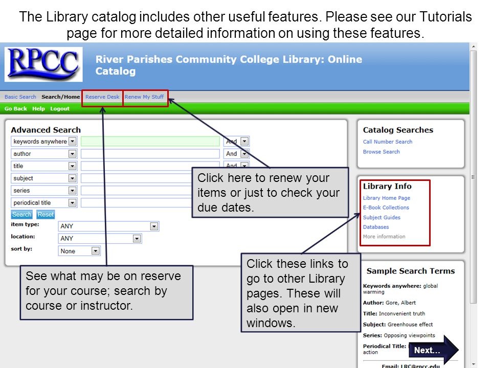 The Library catalog includes other useful features.