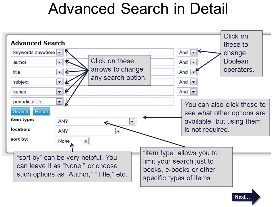 Advanced Search in Detail Click on these arrows to change any search option. Click on these to change Boolean operators. You can also click these to s