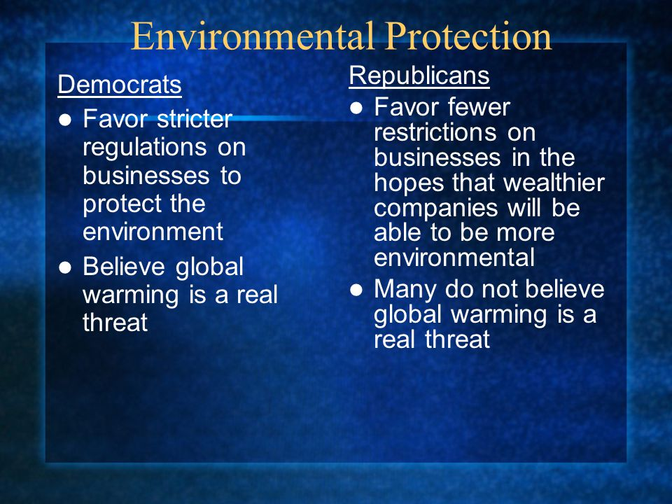 Environmental Protection Democrats Favor stricter regulations on businesses to protect the environment Believe global warming is a real threat Republi