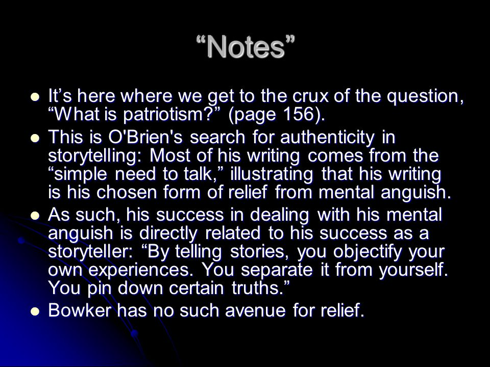 """""""Notes"""" It's here where we get to the crux of the question, """"What is patriotism?"""" (page 156). It's here where we get to the crux of the question, """"Wha"""