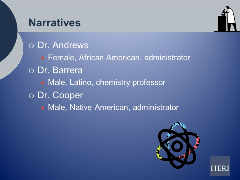 Narratives  Dr. Andrews Female, African American, administrator  Dr.