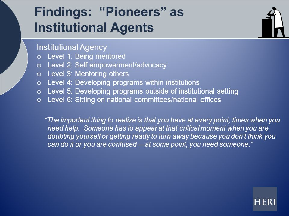 Findings: Pioneers as Institutional Agents Institutional Agency  Level 1: Being mentored  Level 2: Self empowerment/advocacy  Level 3: Mentoring others  Level 4: Developing programs within institutions  Level 5: Developing programs outside of institutional setting  Level 6: Sitting on national committees/national offices The important thing to realize is that you have at every point, times when you need help.