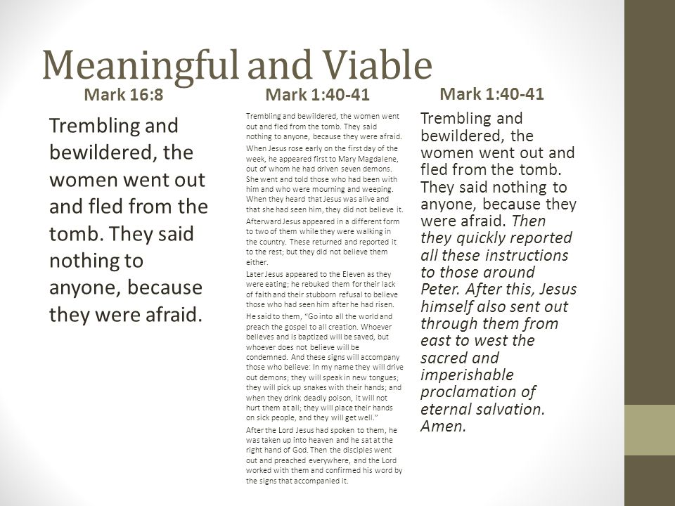 Meaningful and Viable Mark 16:8 Trembling and bewildered, the women went out and fled from the tomb.