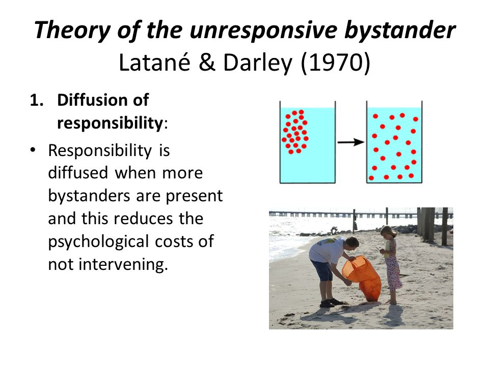 Theory of the unresponsive bystander Latané & Darley (1970) 1.Diffusion of responsibility: Responsibility is diffused when more bystanders are present and this reduces the psychological costs of not intervening.