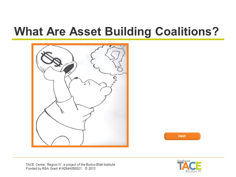 Asset Building Coalitions and How They Can Help Asset Development & Vocational Rehabilitation 30-Second Training Series