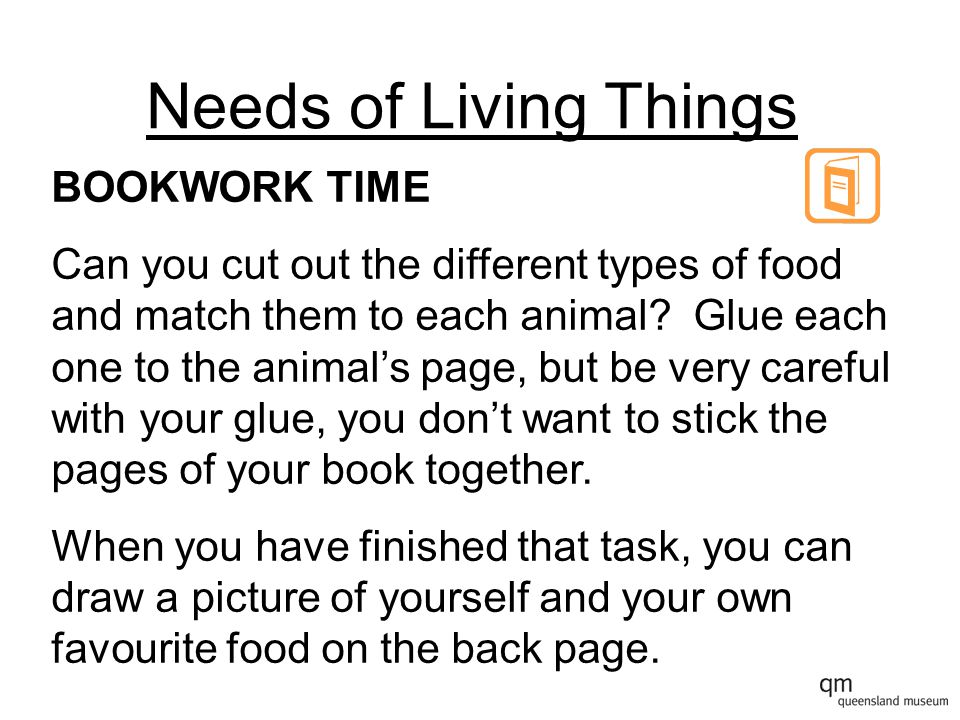 Needs of Living Things BOOKWORK TIME Can you cut out the different types of food and match them to each animal.