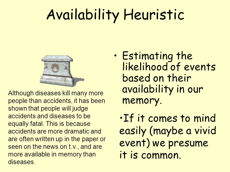 Availability Heuristic Estimating the likelihood of events based on their availability in our memory. If it comes to mind easily (maybe a vivid event)