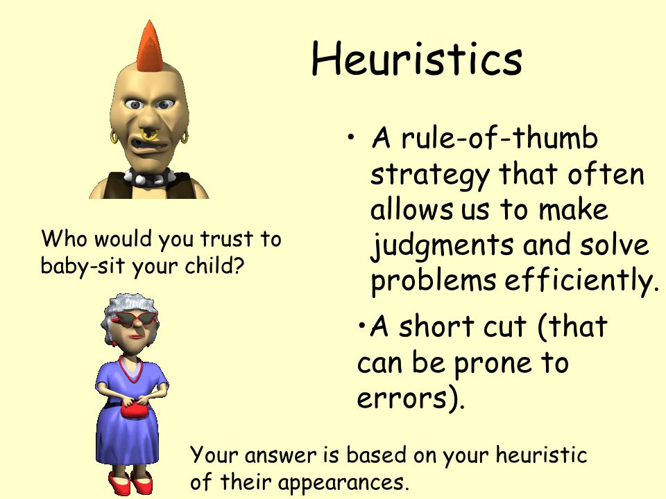 Heuristics A rule-of-thumb strategy that often allows us to make judgments and solve problems efficiently. A short cut (that can be prone to errors).