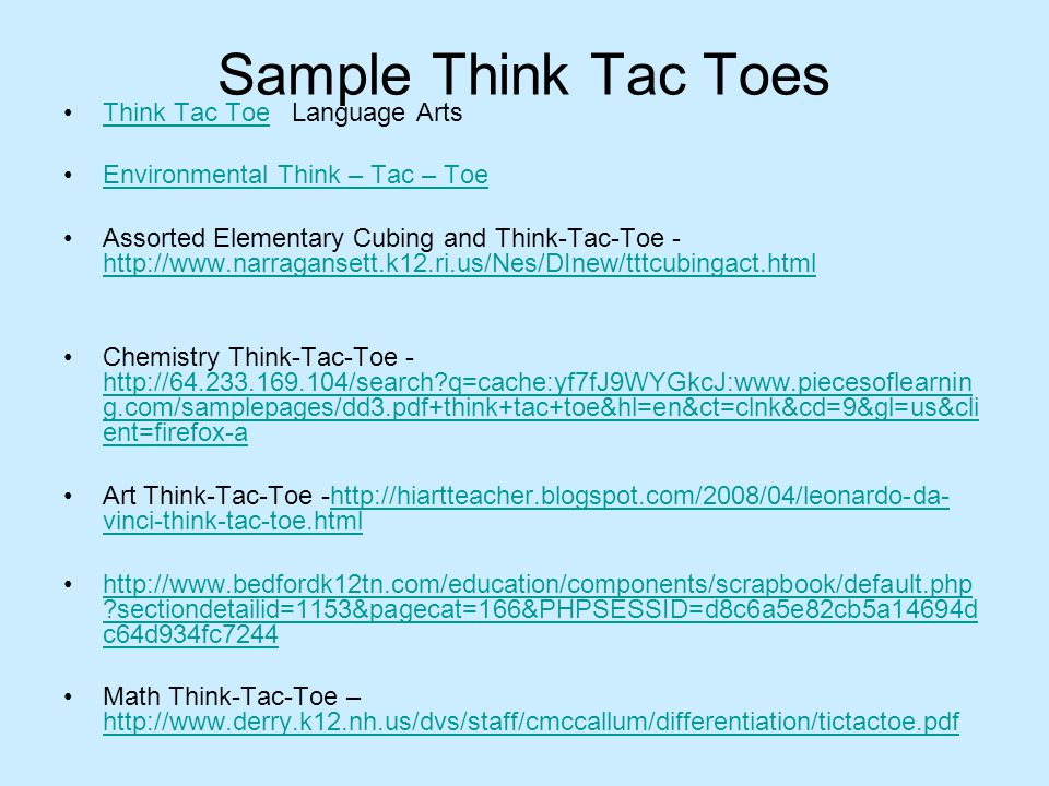 Sample Think Tac Toes Think Tac Toe Language ArtsThink Tac Toe Environmental Think – Tac – Toe Assorted Elementary Cubing and Think-Tac-Toe - http://w