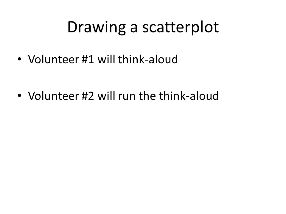 Drawing a scatterplot Volunteer #1 will think-aloud Volunteer #2 will run the think-aloud
