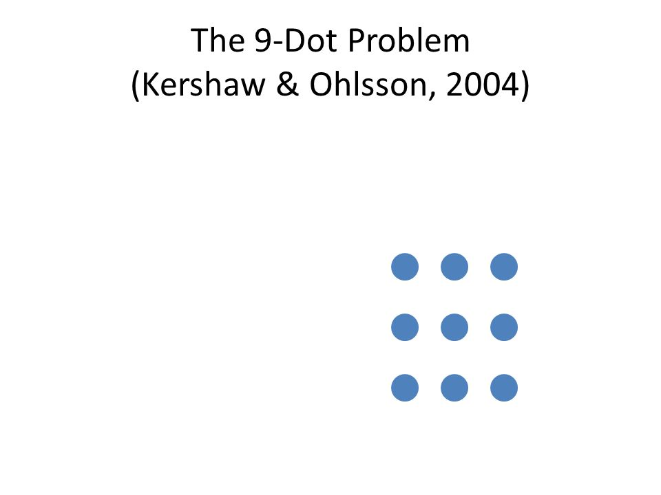 The 9-Dot Problem (Kershaw & Ohlsson, 2004)