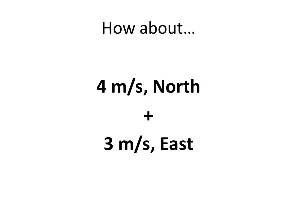 How about… 4 m/s, North + 3 m/s, East