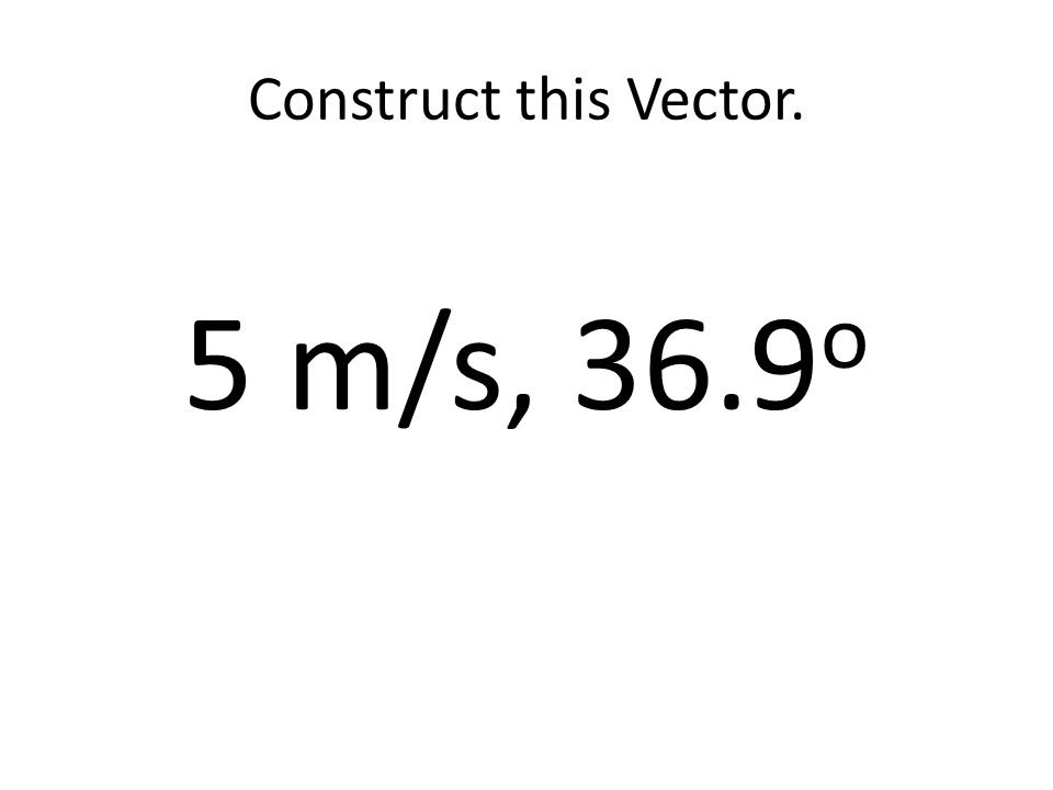 Construct this Vector. 5 m/s, 36.9 o