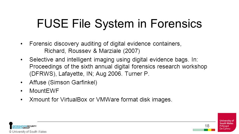 © University of South Wales 17 FUSE File-Systems Application Program