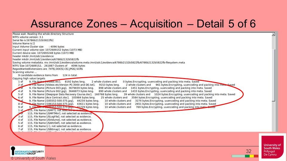 © University of South Wales 31 Assurance Zones – Acquisition – Detail 4 of 6